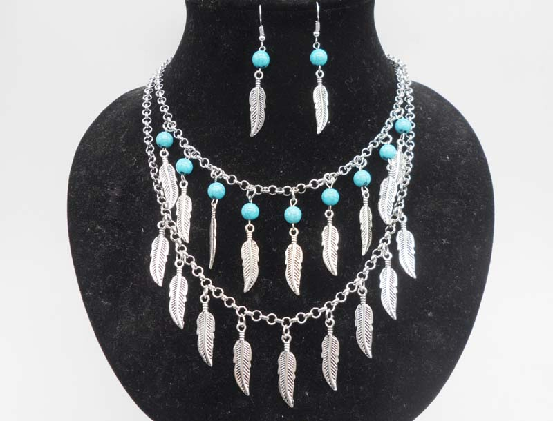 Vintage Silver Jewelry Sets Turquoise Stone Feather Tassels Pendant Two Layers Statement Necklace Earrings Sets For Women