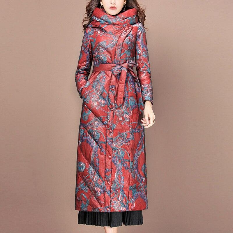2019 New Autumn Winter Hooded Long   Down     Coat   Female Parka Women Duck   Down   Jacket Winter Women Jackets PP090