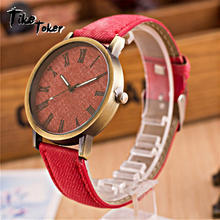 TIke Toker Top luksus Solid Color Herre ure Fashion Jeans Læder Quartz Armbåndsur Ladies Kvinde Watch 2018 relogio feminino