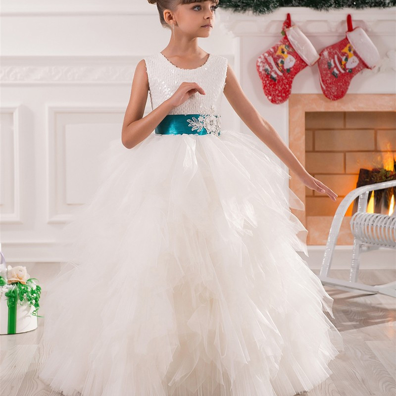 White Belt and Ankle Length Layered Dress Flower Girl Dresses Beauty Appliques Lace Sleeveless Fashionable 2-12 Years Old Girls 2 8y korea style cute bow belt sleeveless round collar assorted color performing dress layered dress girl evening dress