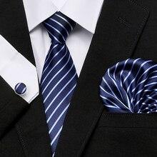 Classic Men`s Tie 20 Styles Novelty Jacquard Woven 100% Silk Tie Hanky Cufflinks Set For Wedding Business Party 7.5cm width