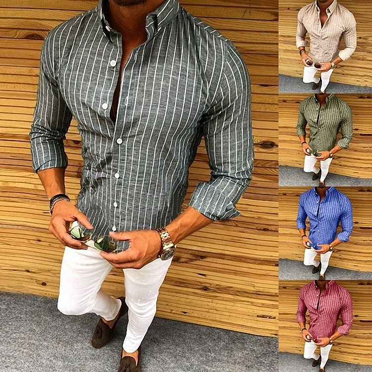 ZOGAA 2019 New Style Hot Fashion Mens Slim Fit V Neck Long Sleeve Casual Tops Vertical Stripe Button Two Kind of Wear Sale