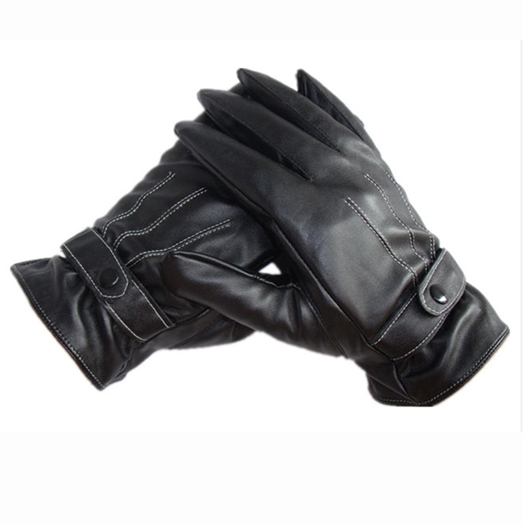 Black leather gloves on sale - Gloves Mens Driving Unisex Pu Leather Thermal Lined Solid Vogue Cashmere Warm Winter New Arrival 0019