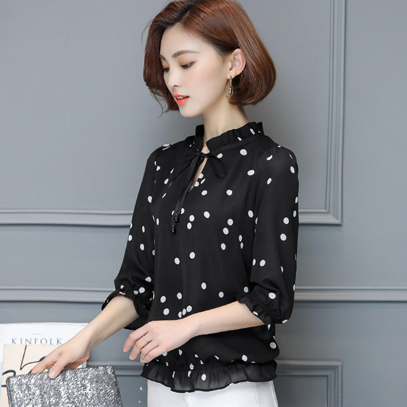 Femme Chiffon Ladies Polka Dot Tops 2017 Three Quarter Shirt Women Ruffled Shirts Blouses Woman Clothes