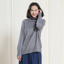 2017  winter female 100% cashmere sweater languid loose turtleneck thickened shawl with sleeves knitted shirt Sweater Female