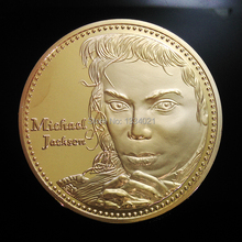 Free shipping NEWEST MICHAEL Jackson King of POP famous singer 24 KT GOLD PLATED Commemorative coin.5pcs/lot(China)