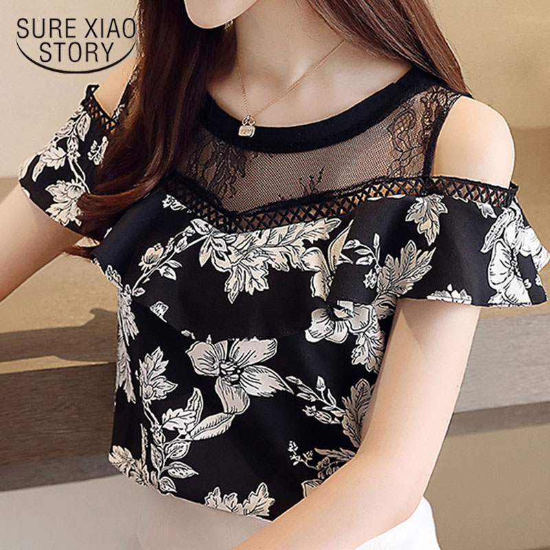 Fashion round collar 2019 hollow lace print chiffon   blouse     shirt   womens tops   shirts     blouse   short sleeve ladies top 2864 50