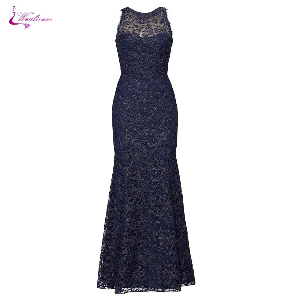 Mãe da Noiva Waulizane Vintage Profundo Azul Renda Vestidos Scalloped Decote Bainha Formais