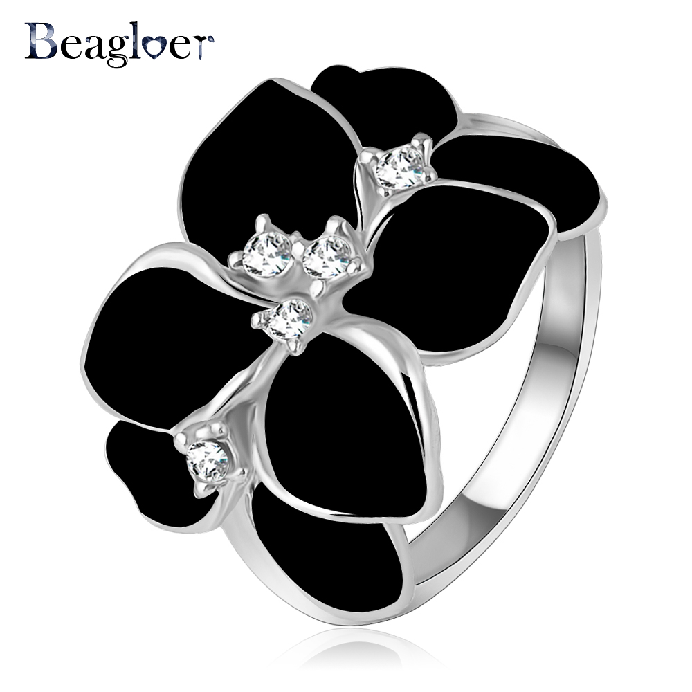 Beagloer hotting sale jewelry ring with rose gold color austrian beagloer hotting sale jewelry ring with rose gold color austrian crystal black enamel flowerwedding ring for women ri hq1006 in rings from jewelry junglespirit Choice Image