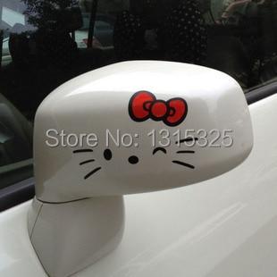 Aliauto 2 x Funny Hello Kitty Car Rearview Mirror Sticker And Decal for Toyota Chevrolet cruze VW skoda Hyundai Kia Lada Hyundai
