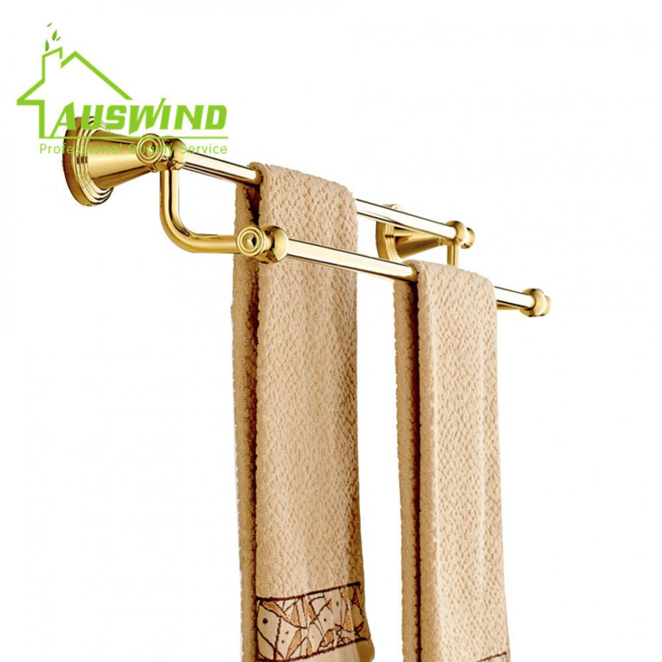 Antique Gold Towel Bars 2 Layers Gold Polish Brass Finished Wall ...