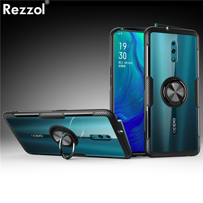 For OPPO Reno Case Clear Acrylic Soft Silicone Car Holder Back Cover For OPPO Reno 10X Zoom F7 A3 Reno 2 2Z 2F Case Transparent