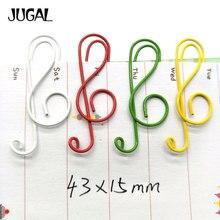 200ชิ้น/ล็อตที่มีสีสันเพลงคลิปกระดาษบุ๊คมาร์คโลหะโฟลเดอร์คลิปบันทึกโรงเรียนสำนักงานเครื่องเขียนคลิปJUGAL