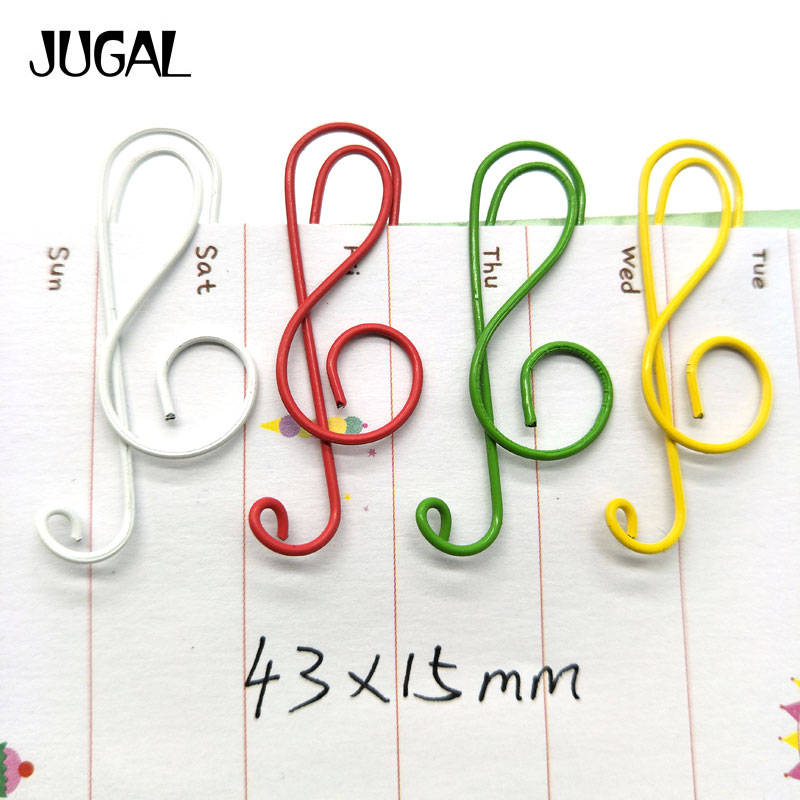 200PCS/lot Colorful Music Paper Clips Metal Bookmarks Folder Memo Clips School Office Stationery Clip JUGAL