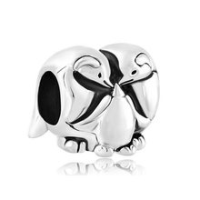 Big hole beads family charm penguin father and mother amulet original brand design DIY jewelry Fit Pandora Bracelet Necklace(China)