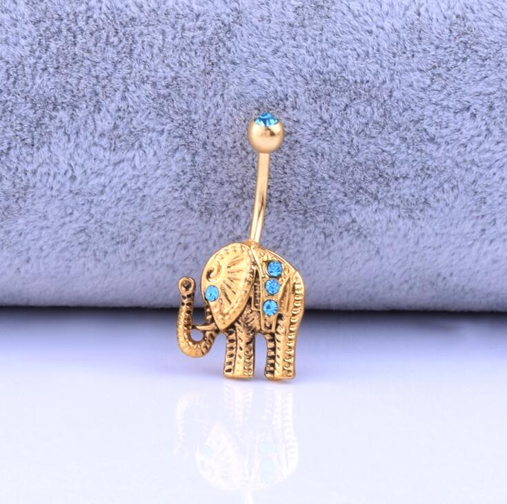 316L Surgical Steel Gold Elephant Navel stud Belly Button Rings Body Piercing Jewelry