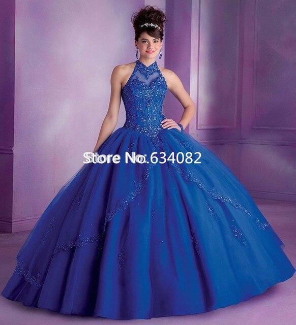 12479 5 De Descuentoaliexpresscom Comprar Azul Real Vestidos De Quinceañera Debutante Vestido 15 Años Con Cuentas De Encaje Champán Dulce