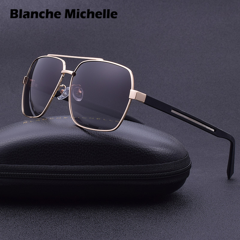 2019 Fashion Square Metal Polarized Sunglasses Retro Men Driving Glasses Eyewear