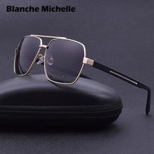 2019 High Quality Square Sunglasses Men Polarized UV400 Sport Sun Glasses For Male Driving Gold Frame Retro oculos With Box