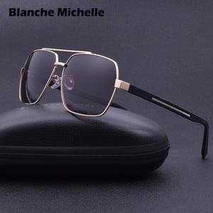 Image 1 - 2019 High Quality Square Sunglasses Men Polarized UV400 Sport Sun Glasses For Male Driving Gold Frame Retro oculos With Box