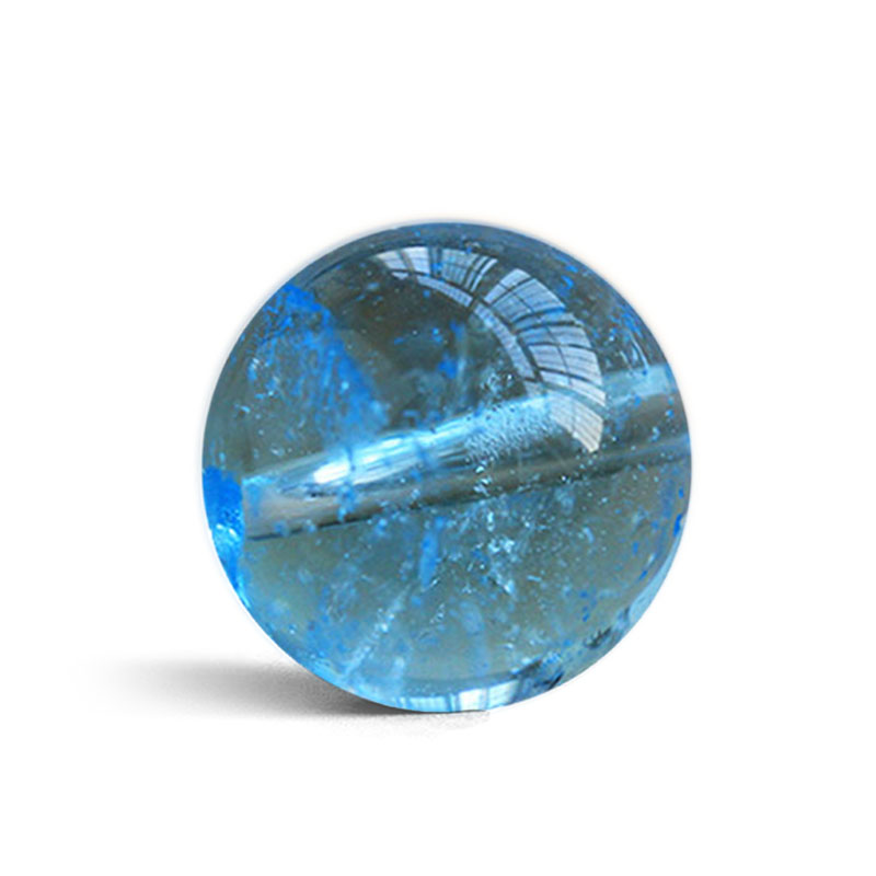 One PIECE Loose Beads Blue Topaz Round   For DIY Jewelry Making FPPJ Wholesale Beads Nature Gem Stone