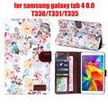 """Para Samsung galaxy tab 4 T330 tab4 8.0 / T331 / T335 8 """" tablet shell estampado de flores impresas de tela cubierta de cuero + stylus pen"""