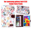 "for Samsung galaxy tab 4 tab4 8.0 T330/T331/T335 8"" tablet shell flower print printed cloth leather case cover +stylus pen"