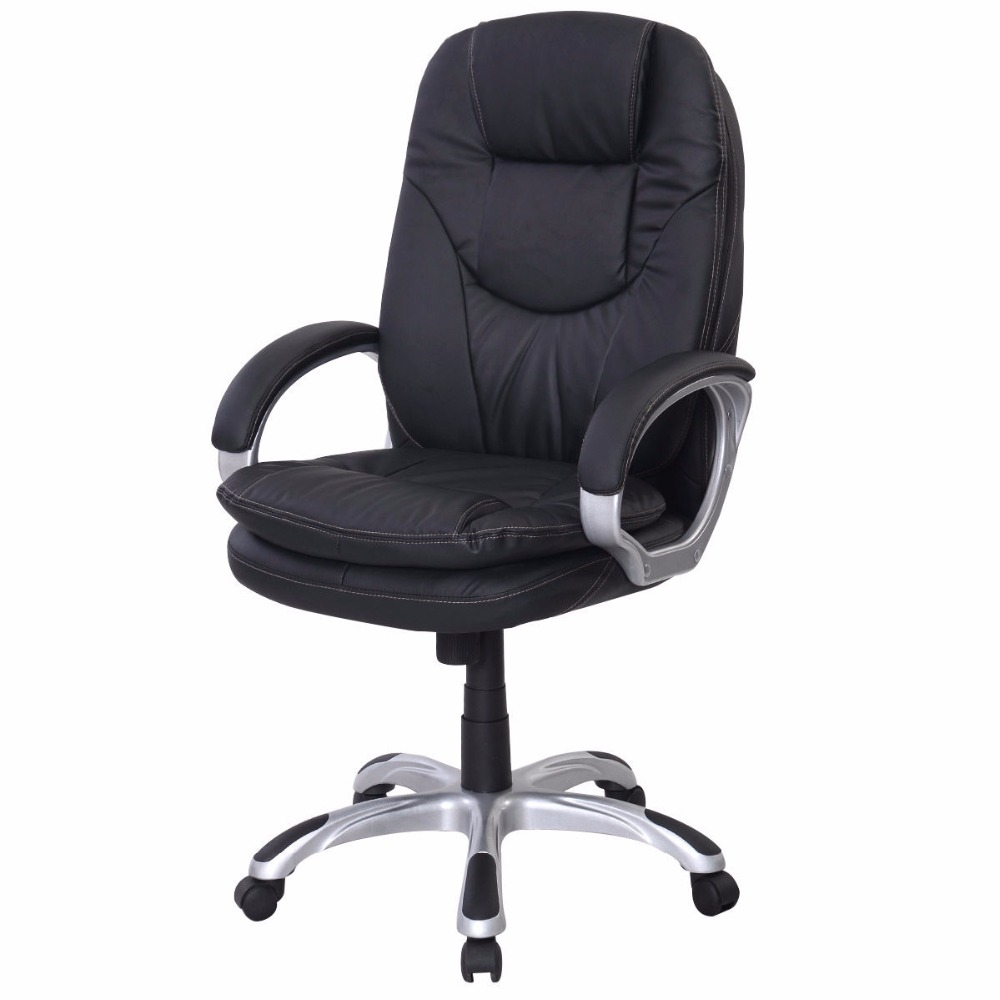Black PU Leather High Back Office Chair Executive Ergonomic Computer Desk Task  HW50278 недорого