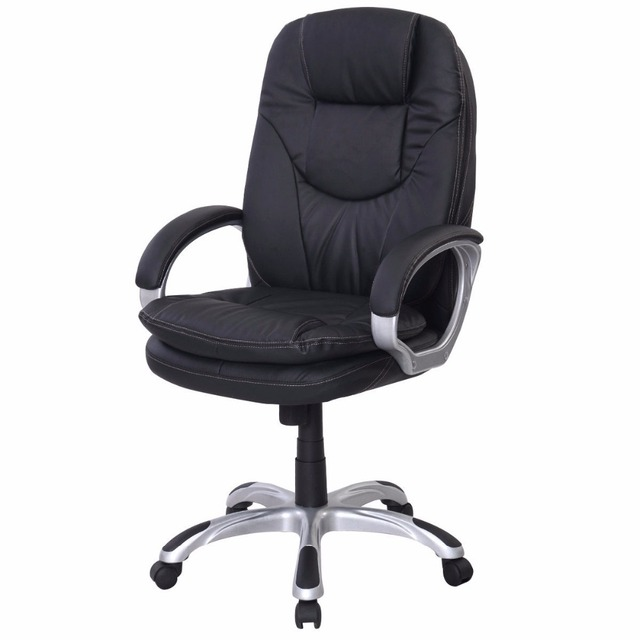goplus black pu leather high back office chair executive ergonomic