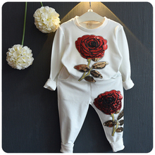 2016 Girls Clothing Sets Winter Wool Sportswear Full Sleeve Rose Floral Embroidered Sequin Set Kids Clothing Sets CTZ03
