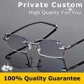 Moda Gafas con Lentes Transparentes Gafas de Lectura Hombres Dioptrías Nerd Sin Montura Gafas Miopía Gafas de Prescripción En Línea 612