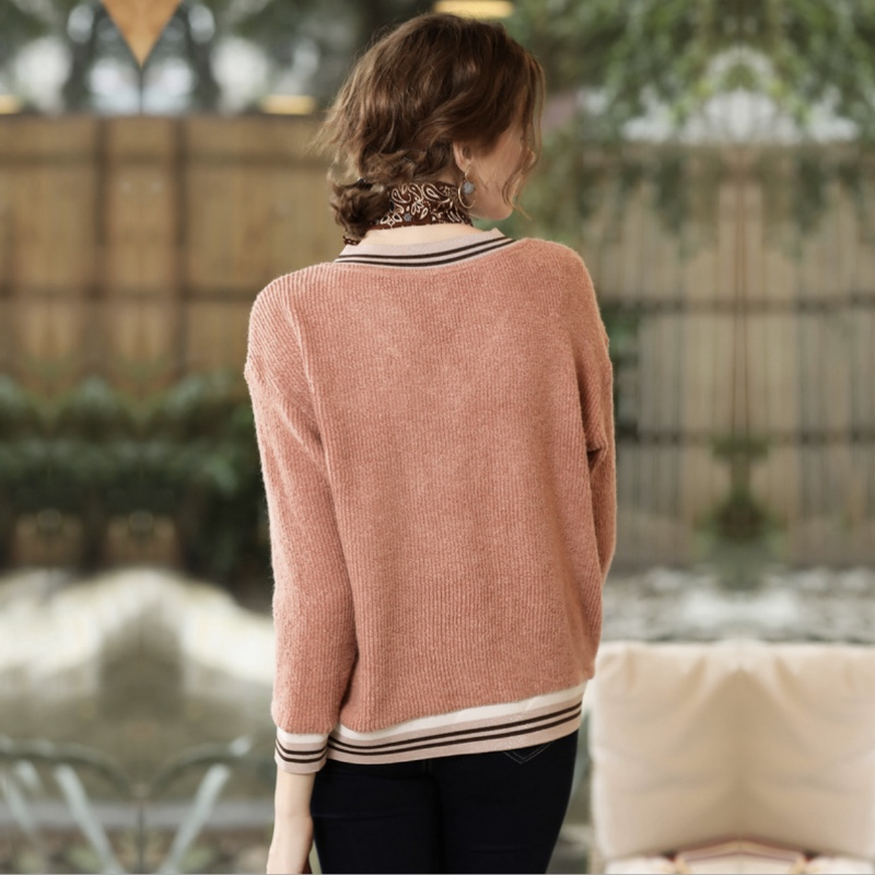 Knit Embroidery Large Winter Pullover Shirt Pink Letter And New Bottoming Women's Size Autumn Sweater xxBq8I0
