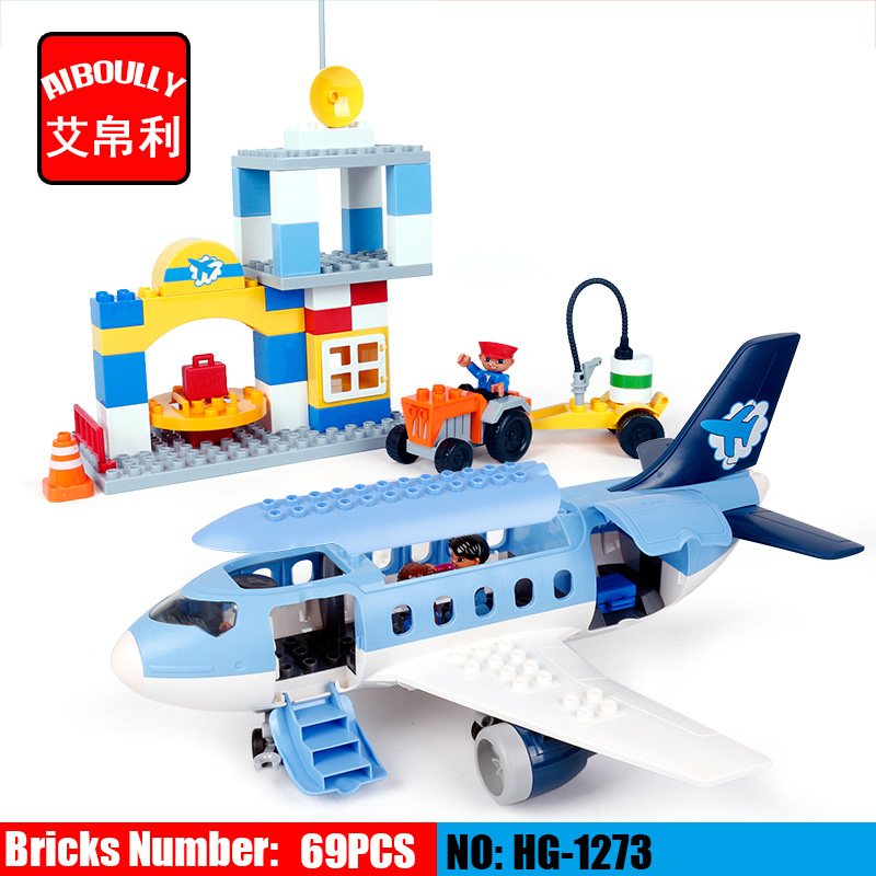 AIBOULLY Large Size Happy Airport Building Blocks Compatible with dupleo 69pcs Classic Toys Educational Baby Toy Gifts kid s home toys large particles happy farm animals paradise model building blocks large size diy brick toy compatible with duplo