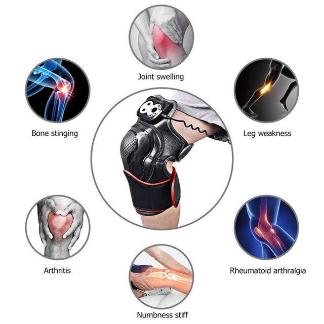 Vibração aquecimento do joelho massageador terapia magnética joint fisioterapia joelho cuidados com os ossos alívio da dor joelho protetor de massagem apoio 6