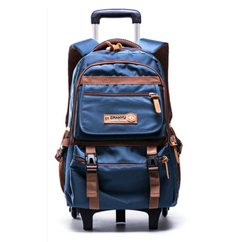 Stylish 2 / 6 Wheels Boys Children School Bag With 3 Wheeled Boy Trolley Backpack Gift Removable Waterproof Trolley Luggage Bags