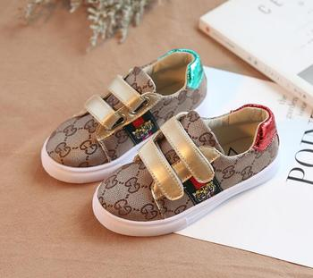 Gucci Pattern Gold Strap Toddler Baby Shoes