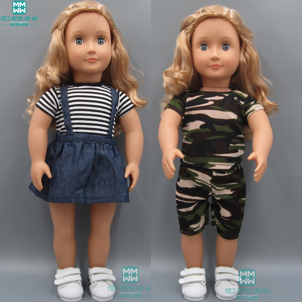 Baby Clothes For Dolls Fits New Bon Doll And 45cm American Doll T-Shirt Denim Skirt