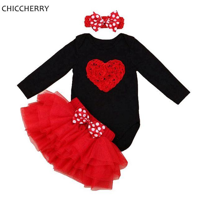 Amor romântico 3D Rose Red Manga Comprida Bebê Menina Dos Namorados Outfit dia Infantil Bebe Bodysuit Rendas Conjunto Saia Crianças Jumpsuit roupas