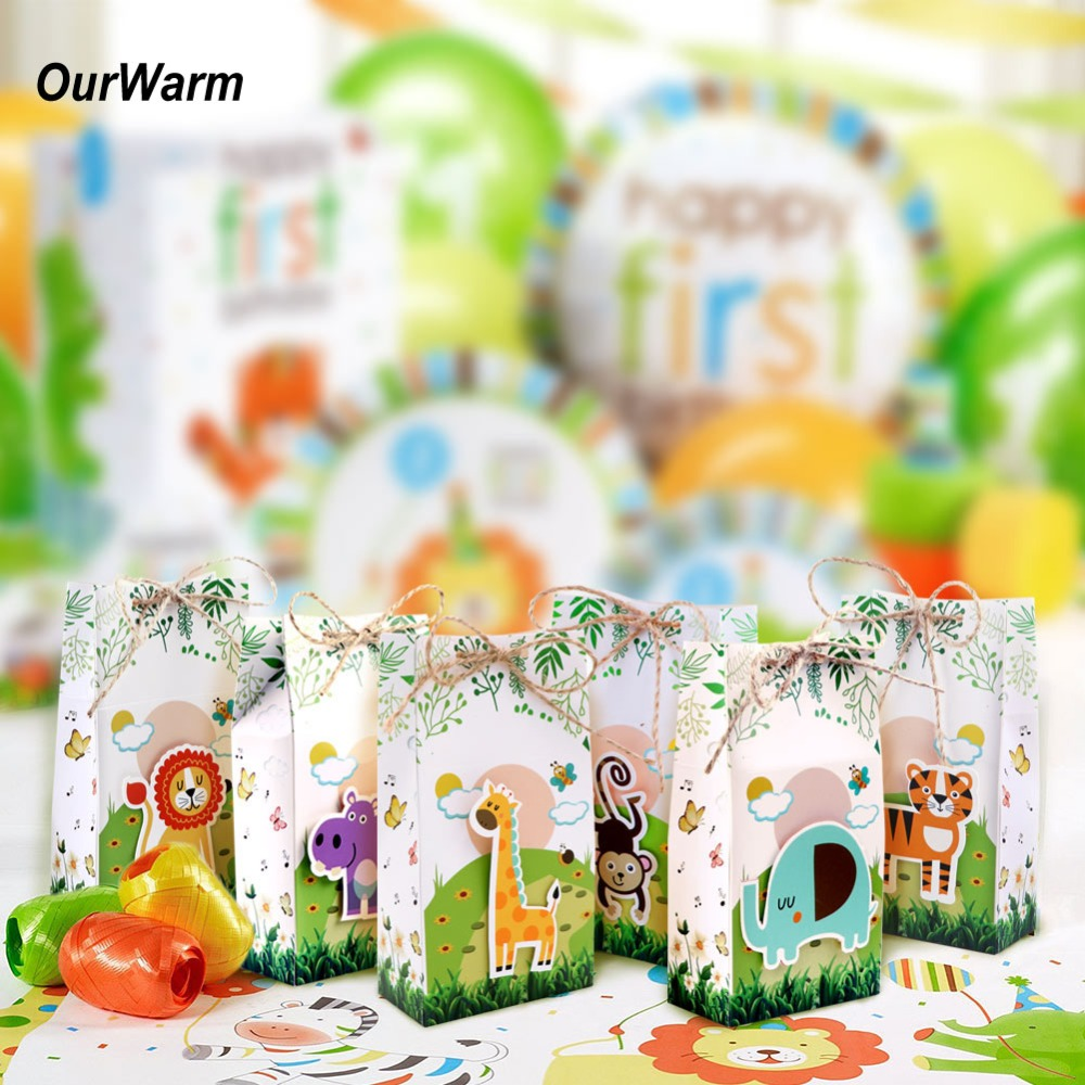 OurWarm 6pcs Safari Animals Favor Box Candy Box Gift Boxes Bags for Jungle Themed Baby Shower Kids Birthday Party Decorations
