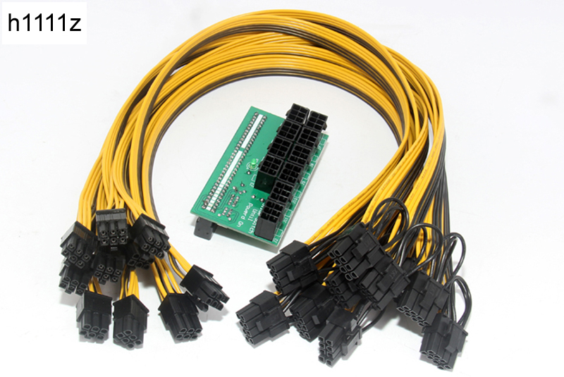 H1111Z 10*6Pin Port Breakout Adapter Board Power Module With 50CM 18AWG 6Pin Male to 6+2Pin Male Cable Mining Power Supply Kit 10pcs 6pin pci e to 24pin female to male power supply adapter cable for server with 20cm wire 18awg