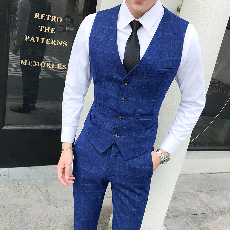 Plaid Vest Men 2 Pieces Set ( Vest + Pants ) Business Wedding  Waistcoat Men 5XL Mens Vests