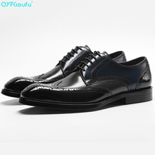 Genuine Cow Leather Square Toe Brogue Shoes Men Designer Dress Black Red Wine Lace-up Classic Oxford