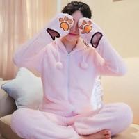 Flannel Pajamas Autumn Winter Women Cute Cat Ear Hooded Zipper Long Sleeve With Glove Thicken Warm