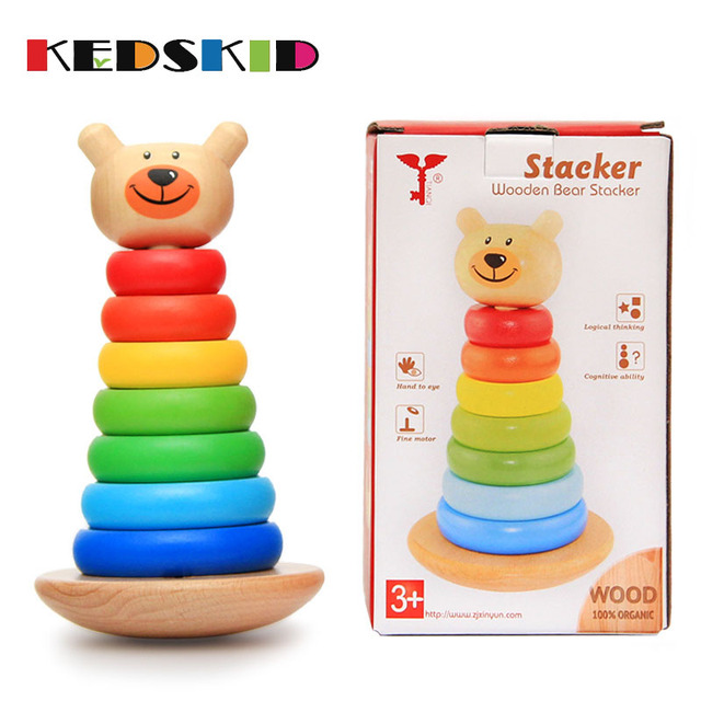 1 3 Year Old Puzzle Toy Wooden Toys Baby Rainbow Bear Tumbler