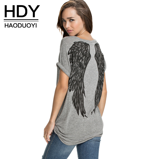 HDY haoduoyi 2017 Summer Fashion Women 2 Colors Back Swing Print T-shirt Loose O-Neck Short Sleeve Tees