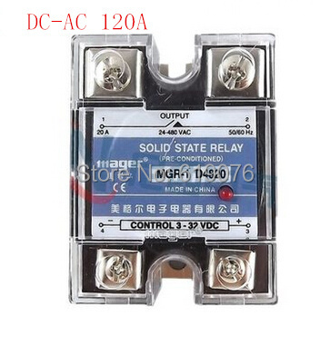 Mager  SSR 120A  DC-AC Single  Solid state relay  Quality Goods MGR-1 D48120 DC control AC ssr 25a single phase solid state relay dc control ac mgr 1 d4825 load voltage 24 480v