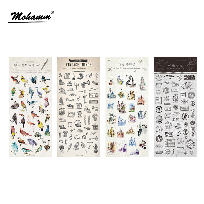 Cute Birds Retro Stamp Building Decorative Adhesive PVC Stickers Diy Diary Scrapbooking Seal Sticker Stationery School Supplies spring and fall leaves shape pvc environmental stickers decorative diy scrapbooking keyboard personal diary stationery stickers