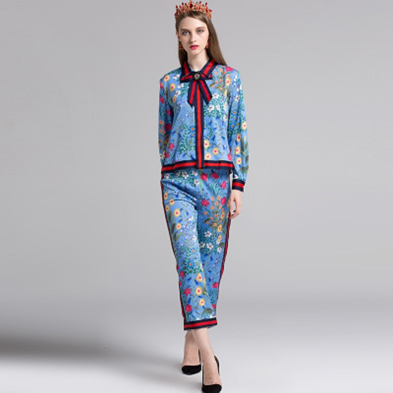 Fashion Summer Women's Vintage Floral Printed 2 Piece Sets Blue Top with Bow+Ankle-Length Trousers Soft Casual Loose Pants Suits drawstring floral casual ankle length pants