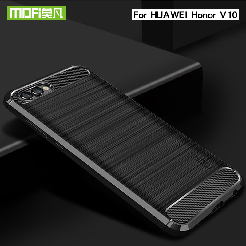Mofi Carbon For Huawei Honor V10 Phone Case Back Cover Silicone Bumper Soft Case For Huawei Honor V10 Phone Armor Shell image