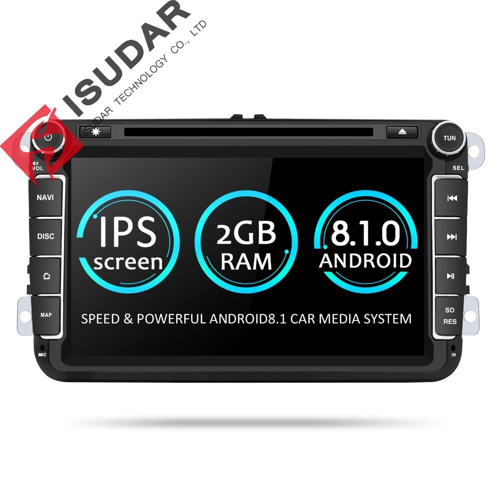 Isudar Deux Din Voiture Lecteur Multimédia Android 8.1 Auto Radio Pour Skoda/Siège/Volkswagen/VW/Passat b7/POLO/GOLF 5 6 DVD GPS 4 Noyaux